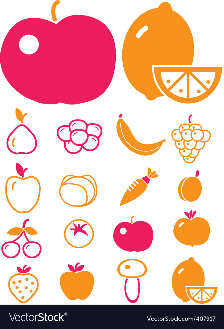 Cute vegetables fruits vector image
