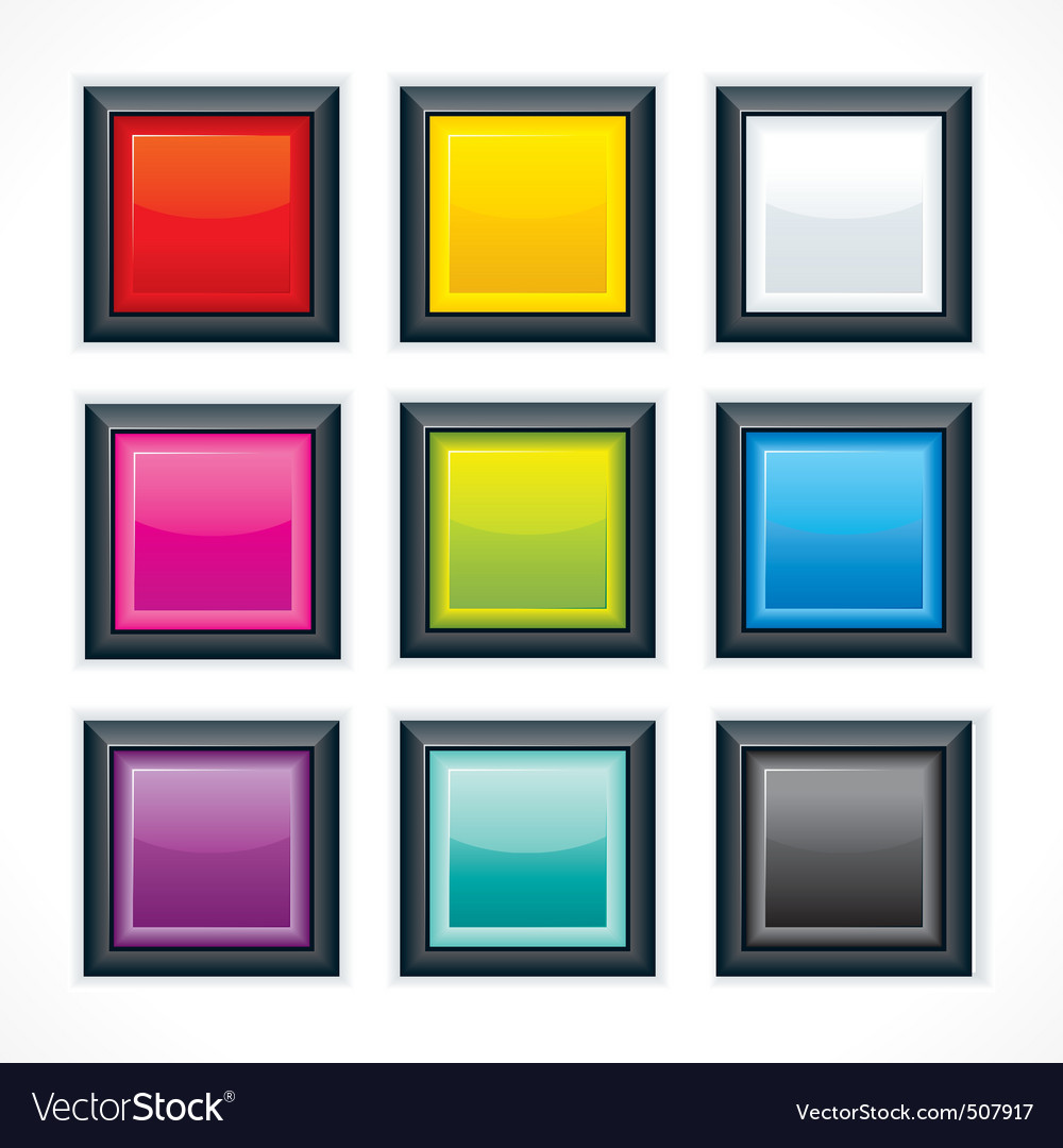 Empty colorful square buttons