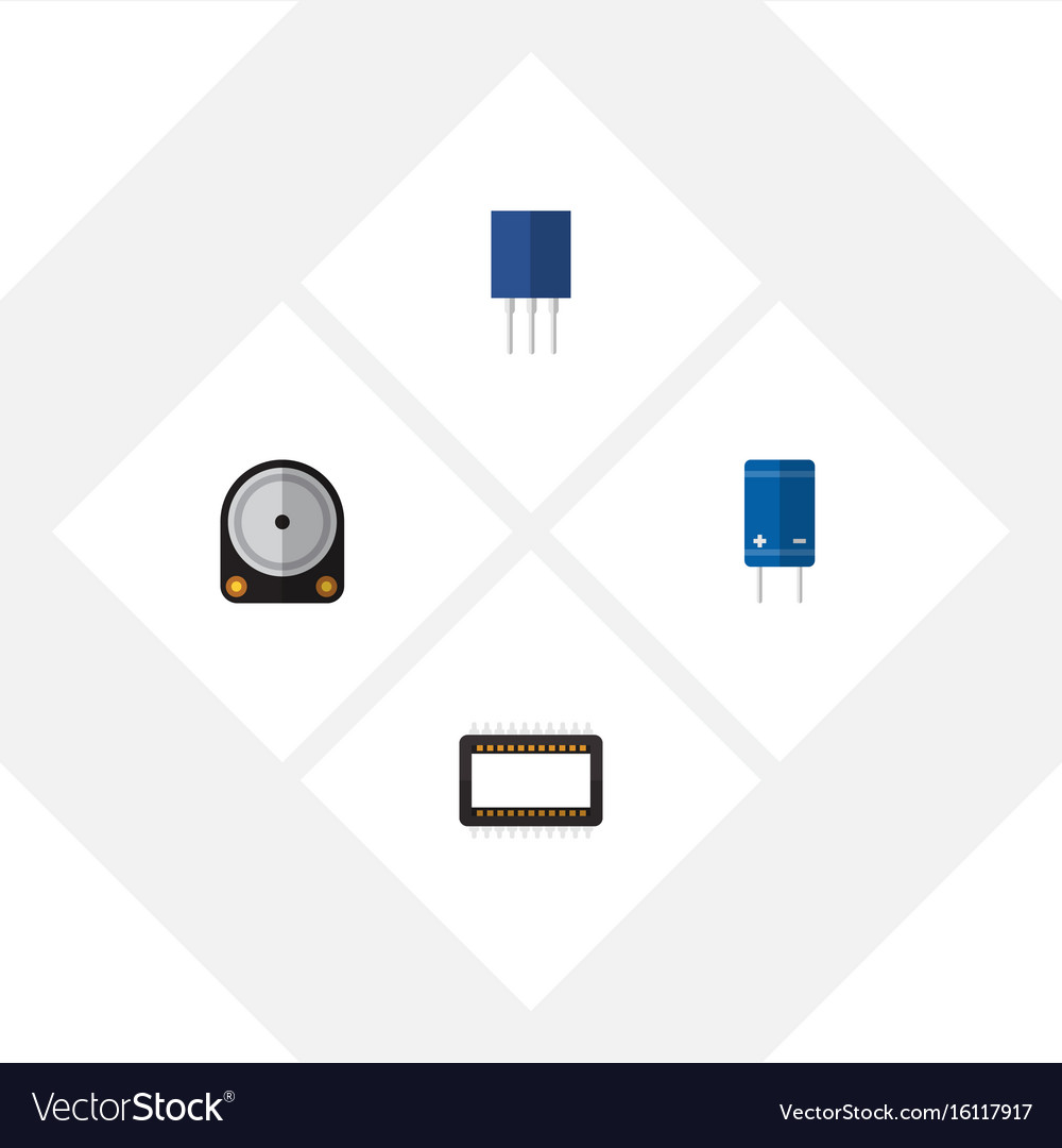 Flat icon technology set of receptacle transistor