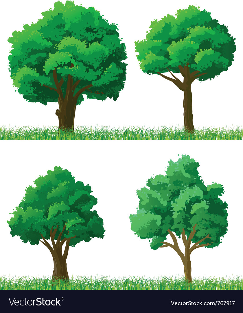 Green trees and grass set