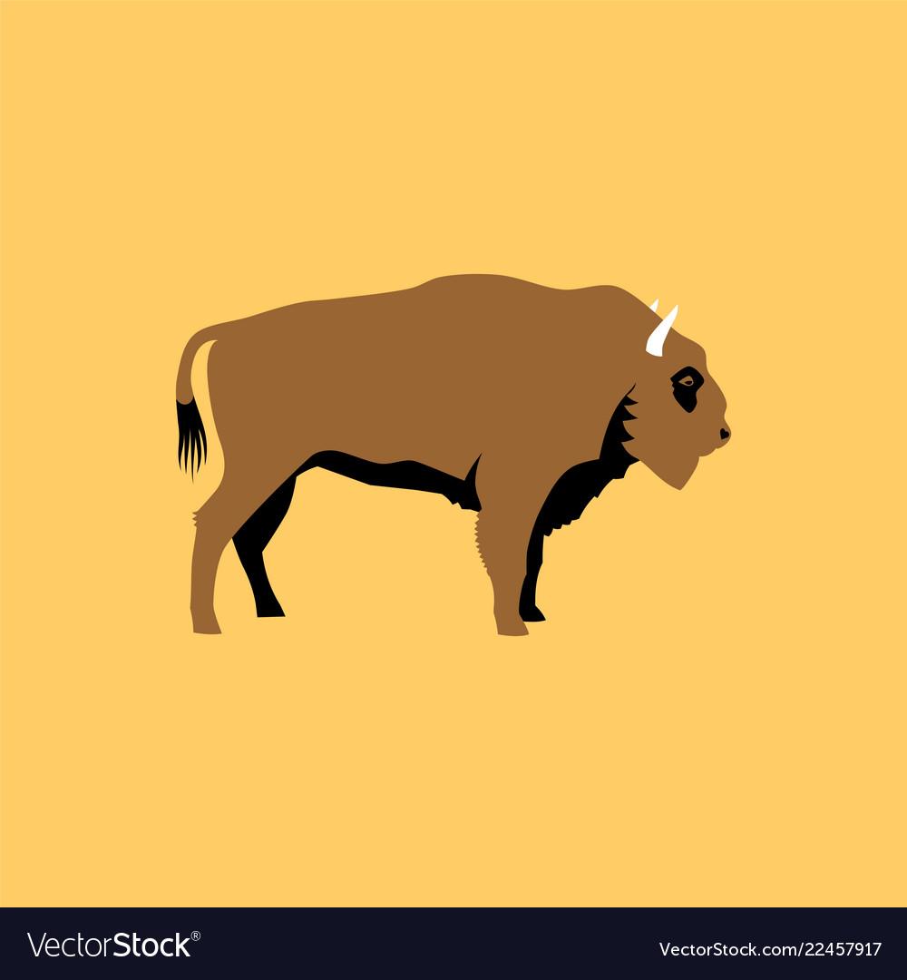 Isolated flat bison wild animal character icon