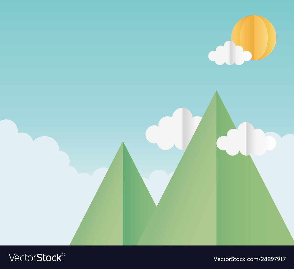 Origami paper mountains clouds sun sky background
