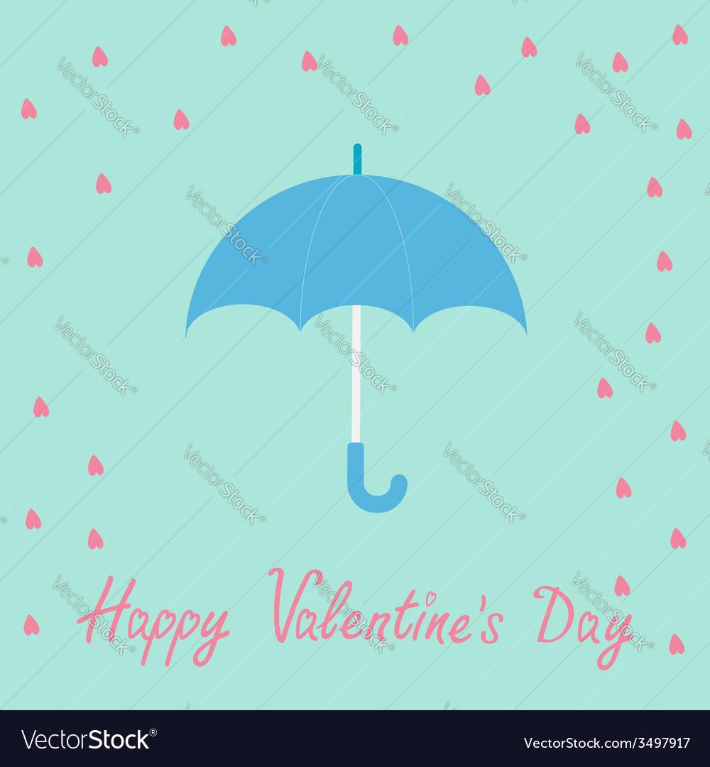 0a5b572bf87 Pink heart rain with blue umbrella Flat design Vector Image