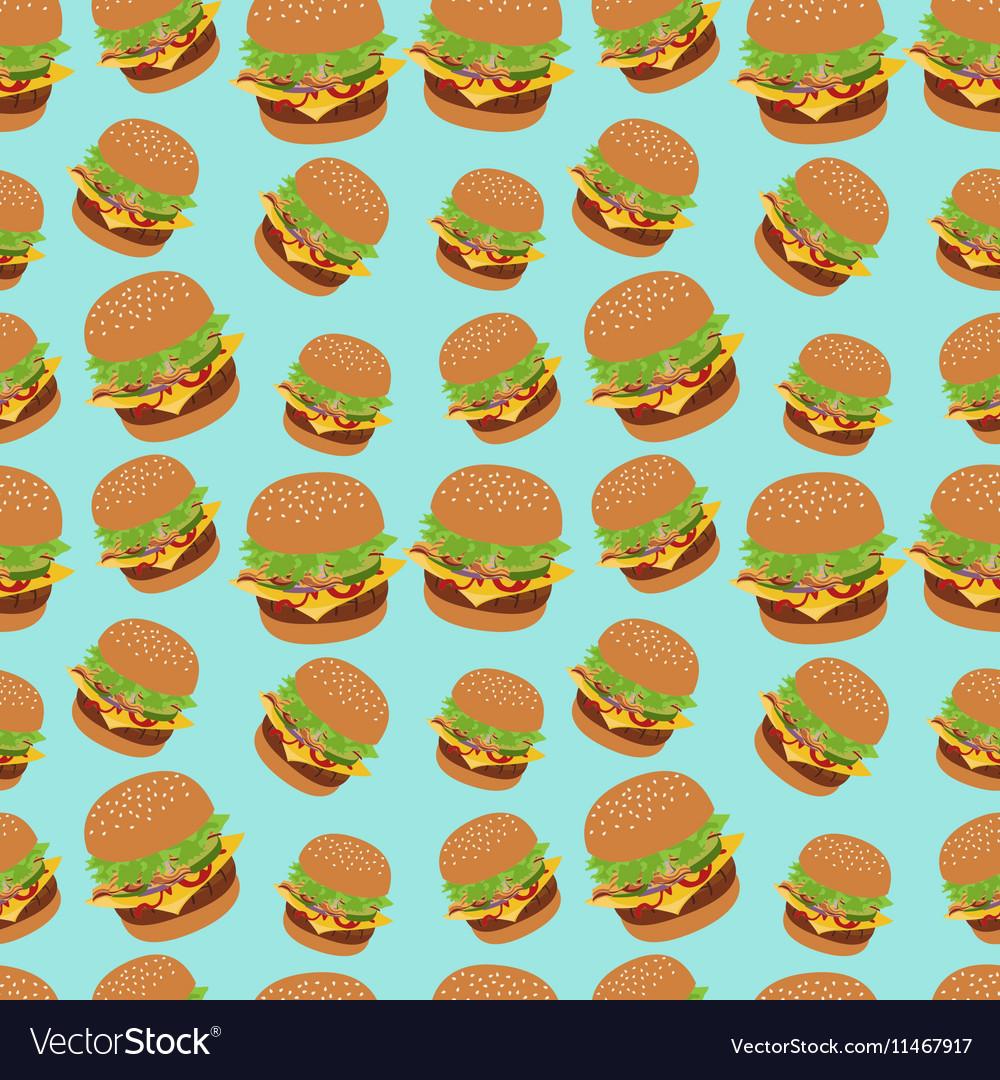 Seamless pattern with burger image Cheeseburger