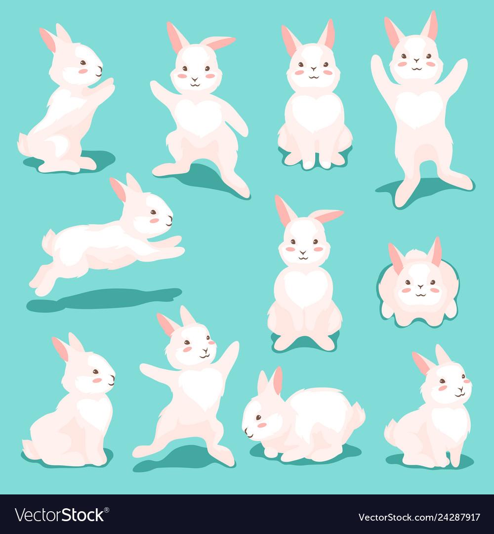 Set of cute easter bunnies