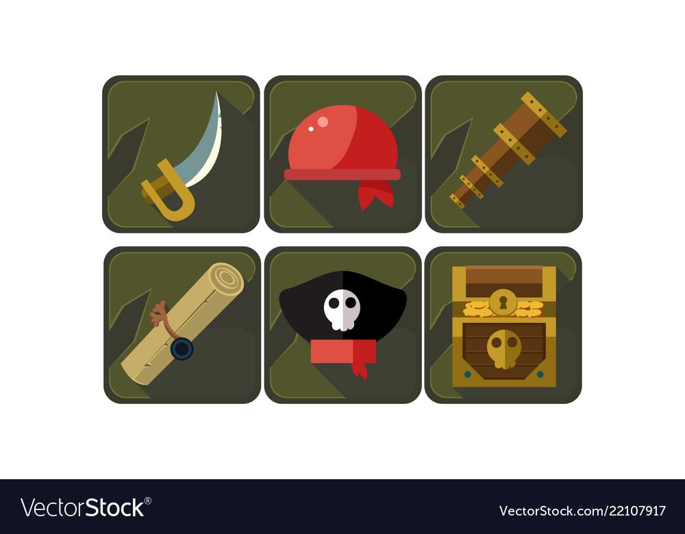 Set pirate icons sword red bandana spyglass