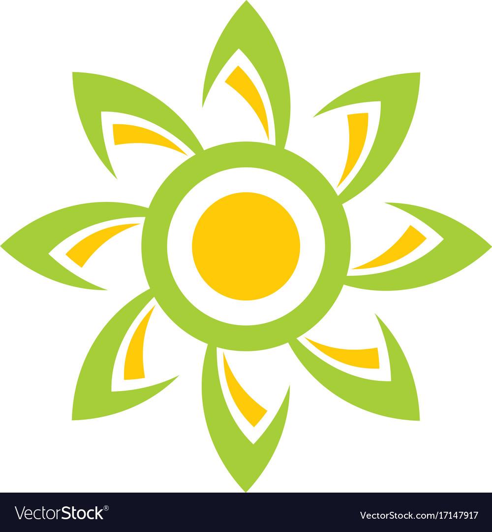 Sun flower abstract beauty logo