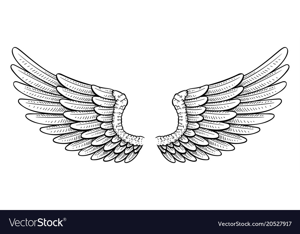 Tattoo style wings