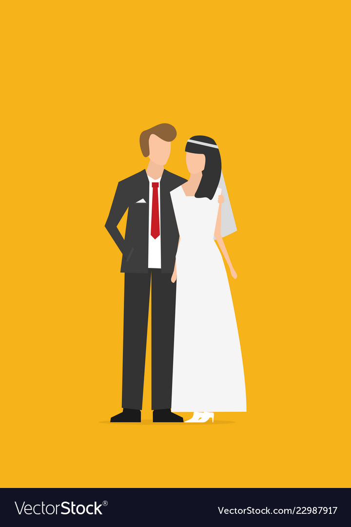 Wedding couple flat isolated on color background