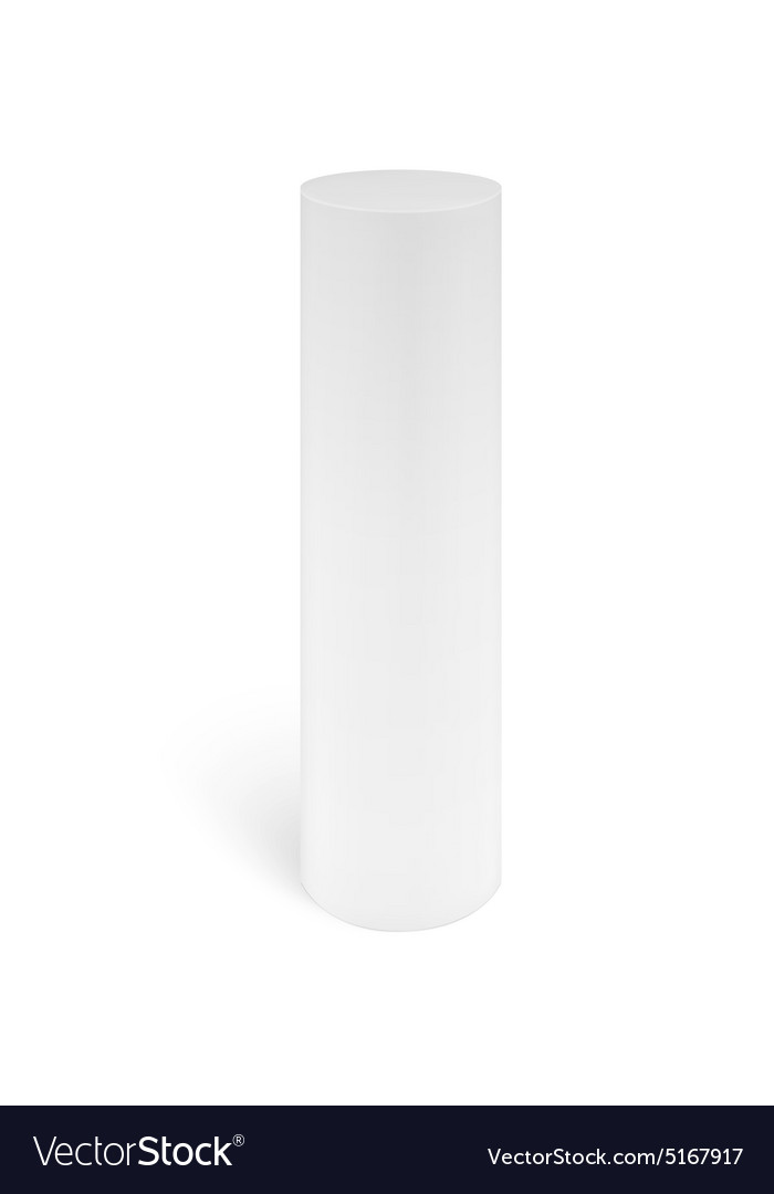 White cylinder stand isolated on white background vector image