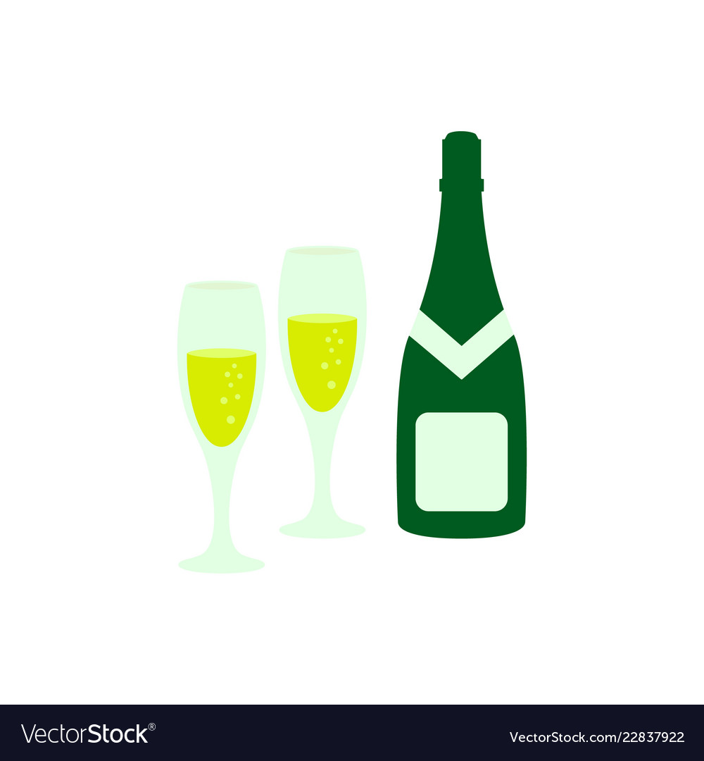 A glass and a bottle of champagne icon color