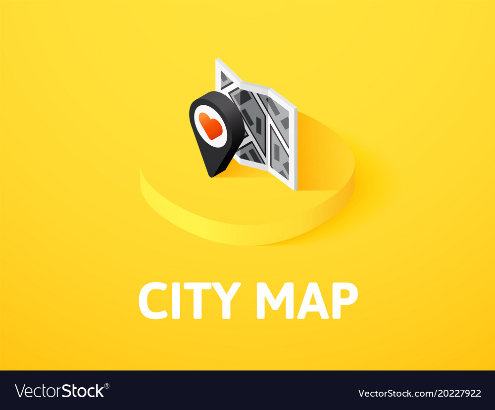City map isometric icon isolated on color