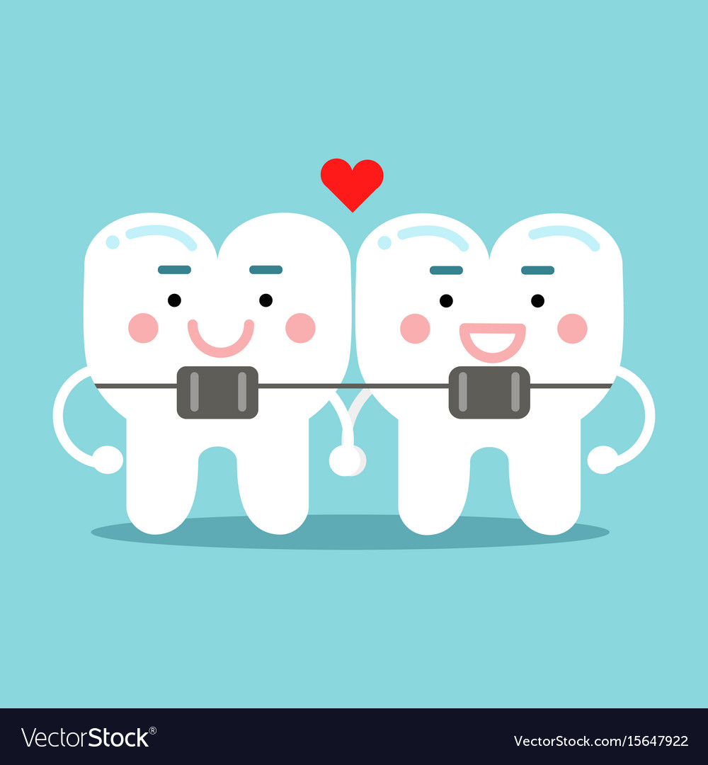 Cute smiling cartoon teeth characters with