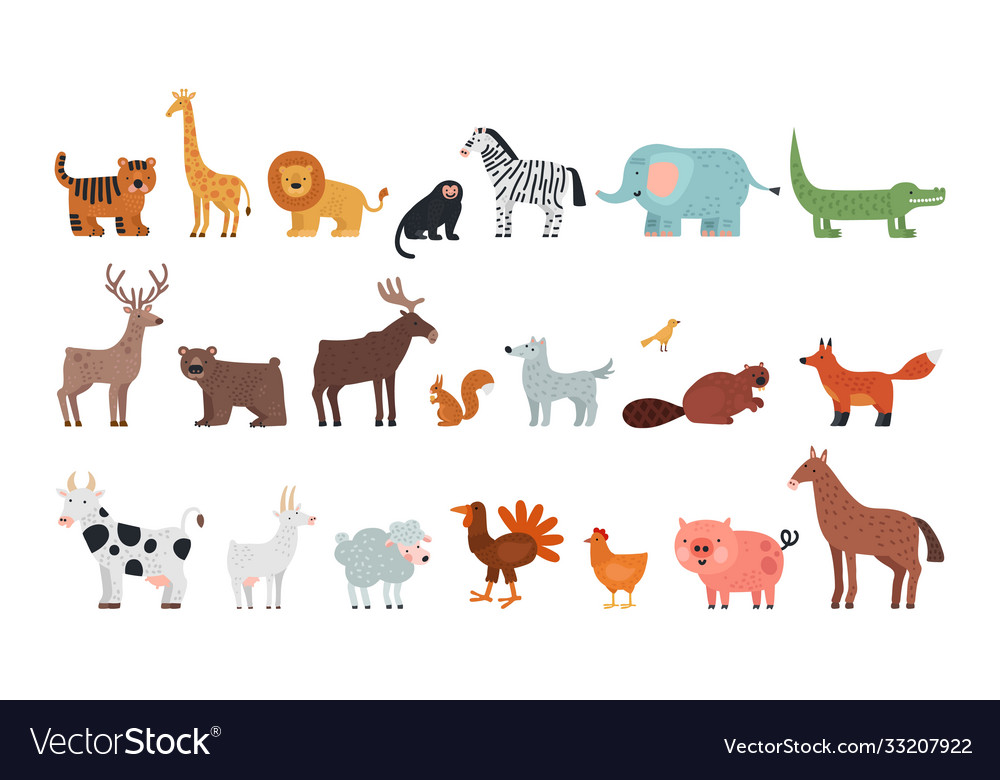 Different animals farm savanna forest fauna