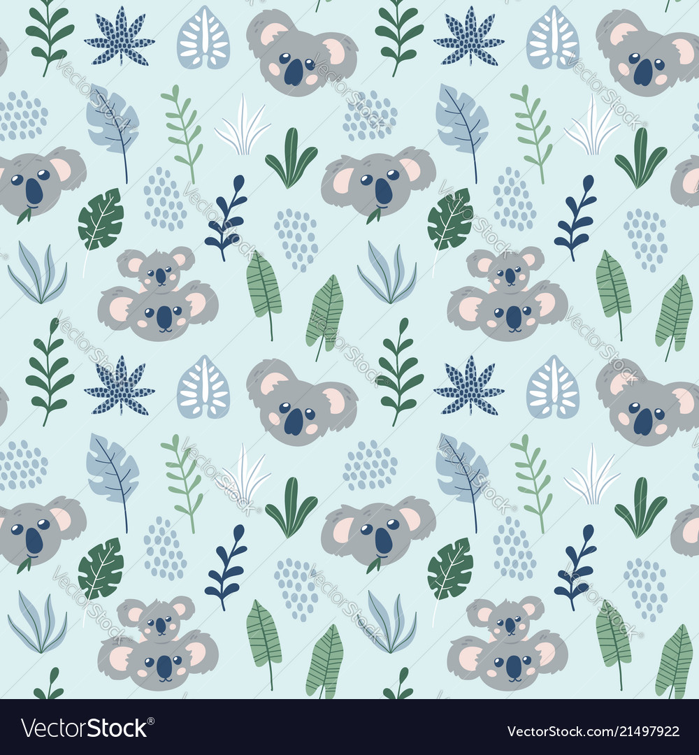 Hand drawn childish seamless pattern with koalas
