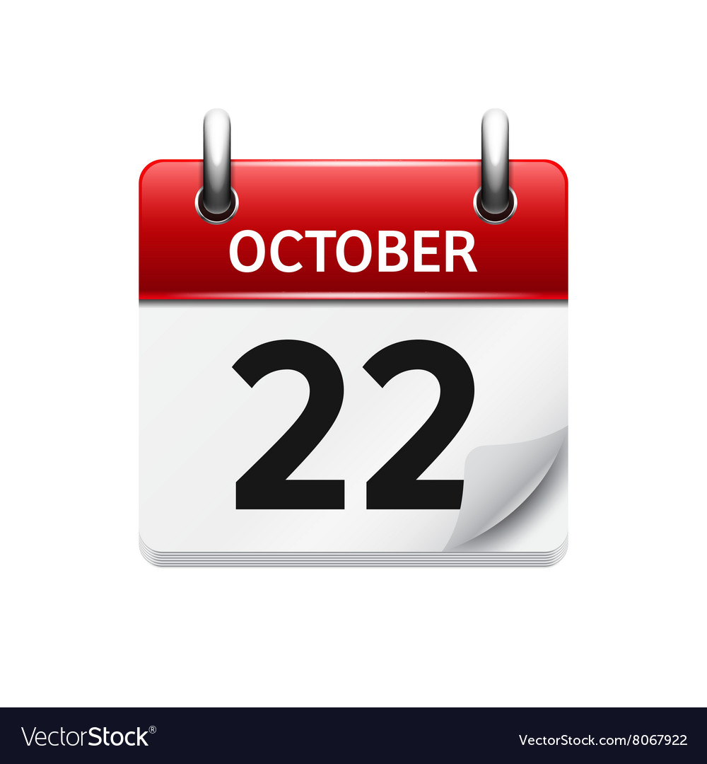 October 22 flat daily calendar icon Date vector image