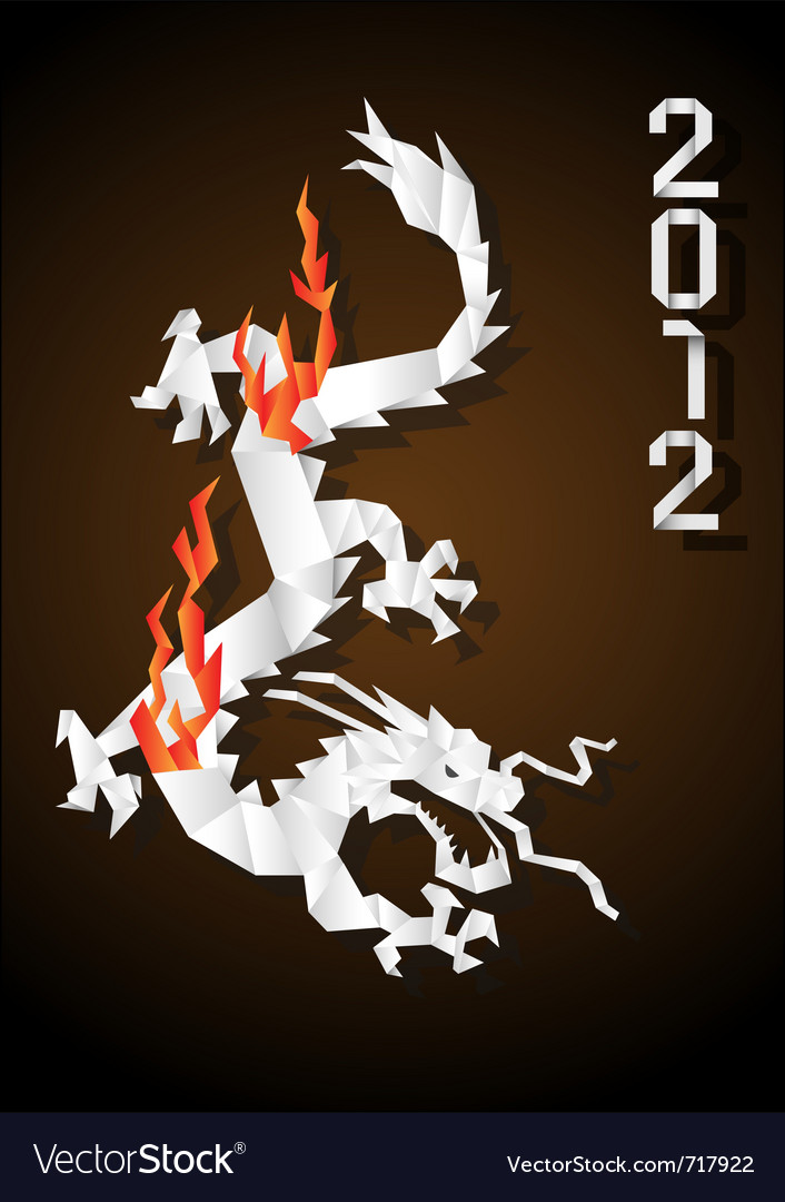 Origami Chinese Dragon Royalty Free Vector Image