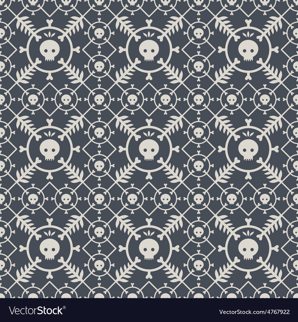 Seamless pattern with skulls and original design