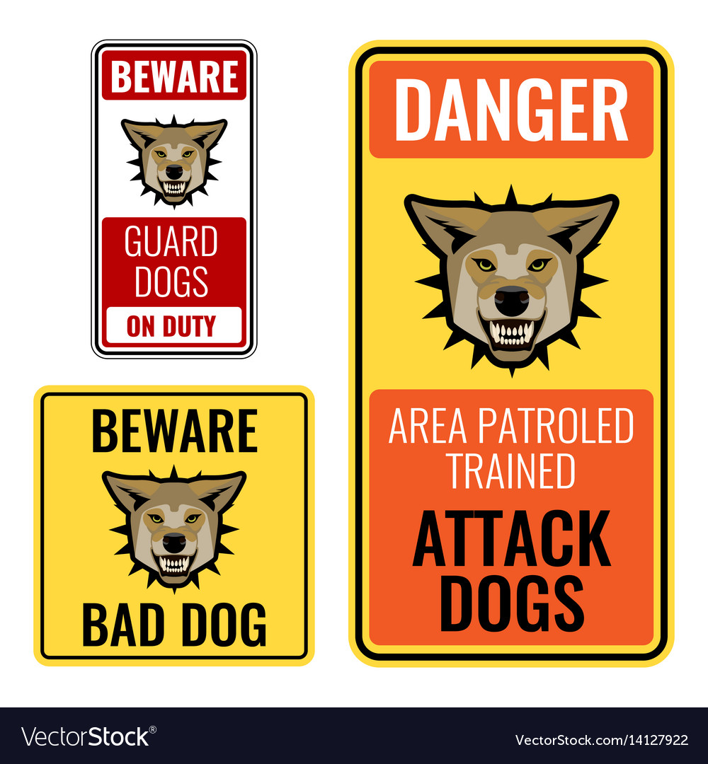 Set of stickers with beware bad dog signs