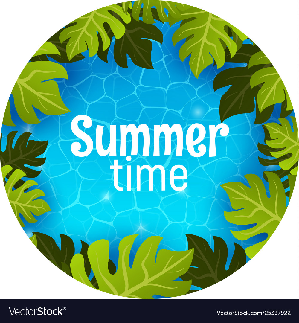 Swimming pool top view summer time poster banner