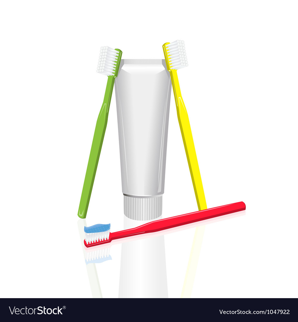 Toothpaste and toothbrush vector image