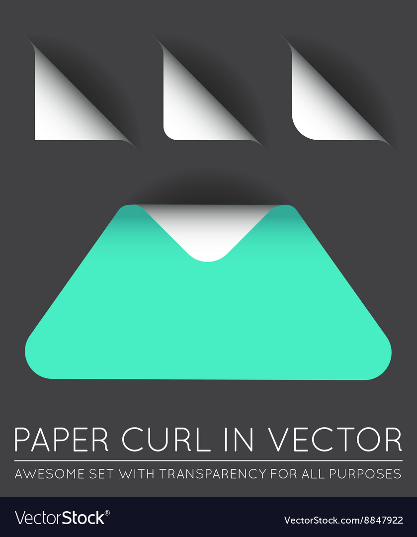 Triangle with Paper Curl with Shadow Isolated Set