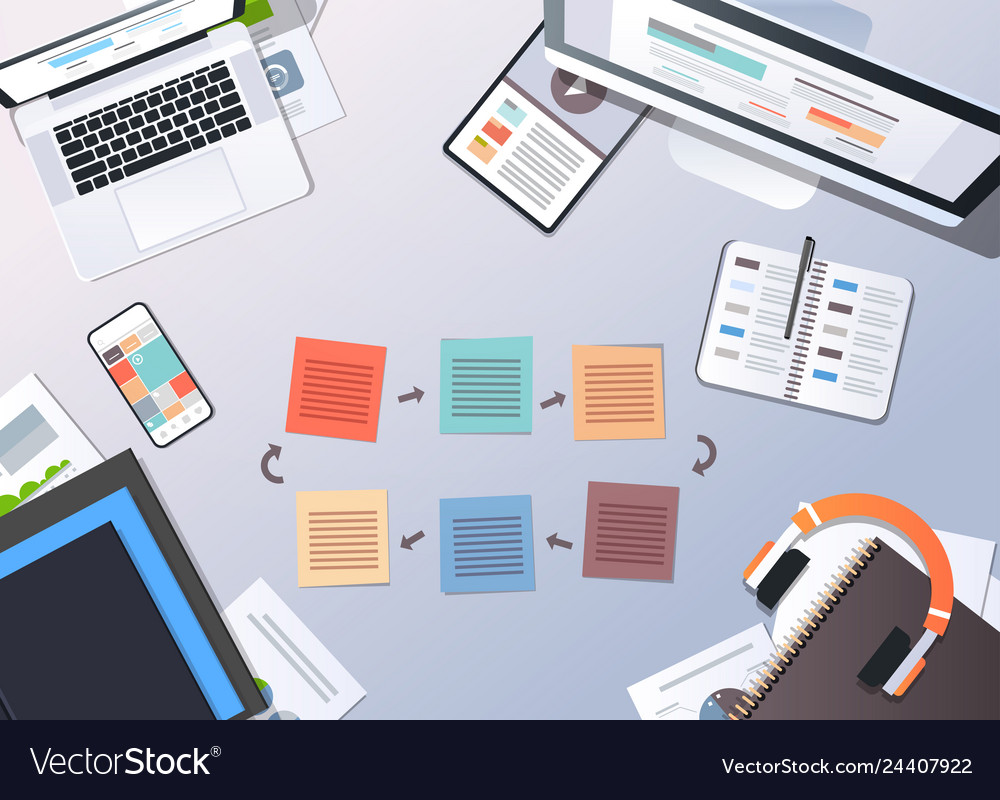 Working business cyclic arrows process top angle