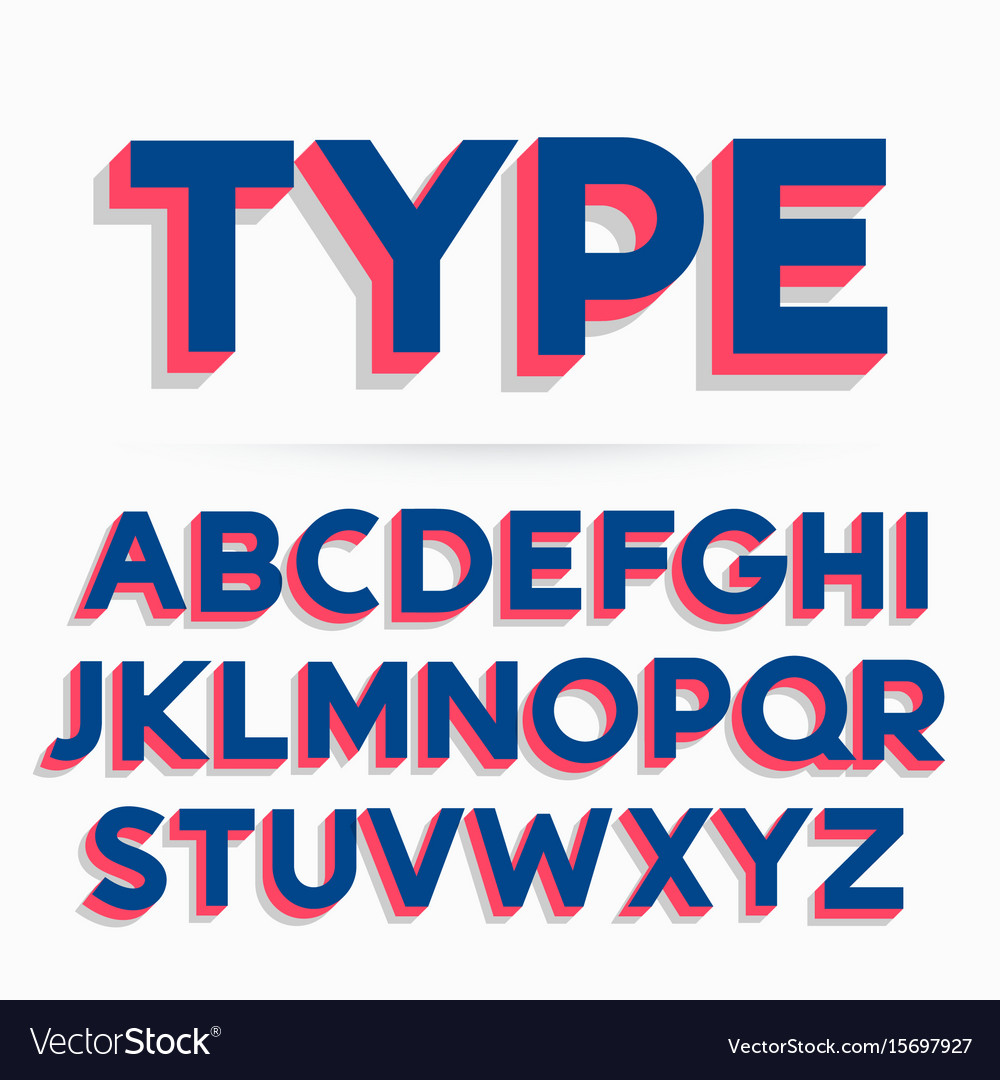 3d Typeface Font And Alphabet Design Royalty Free Vector