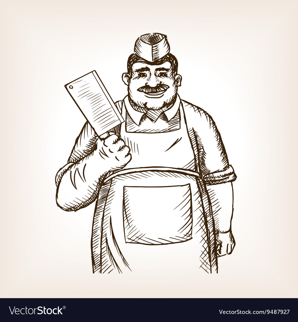 Butcher with knife sketch vector image