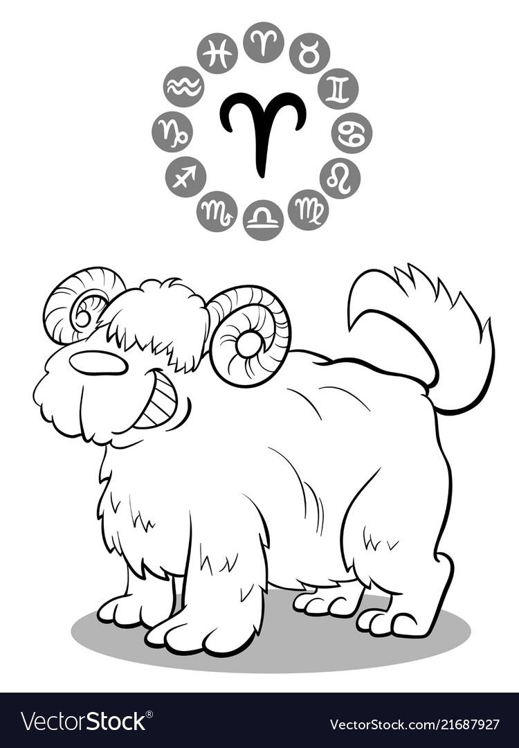 Cartoon dog as aries zodiac sign