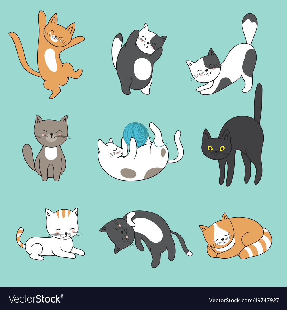 Cool doodle abstract cats characters hand vector image