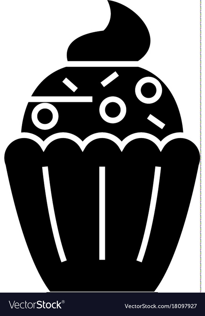 Cupcake icon black sign on vector image