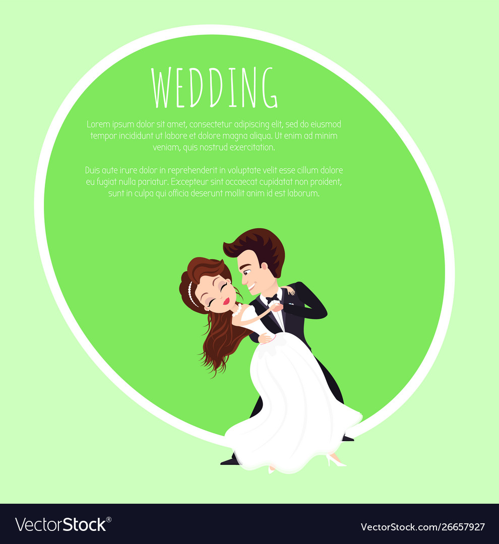 Dancing groom and bride characters wedding