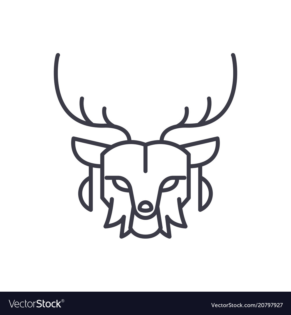 Deer head line icon sign on