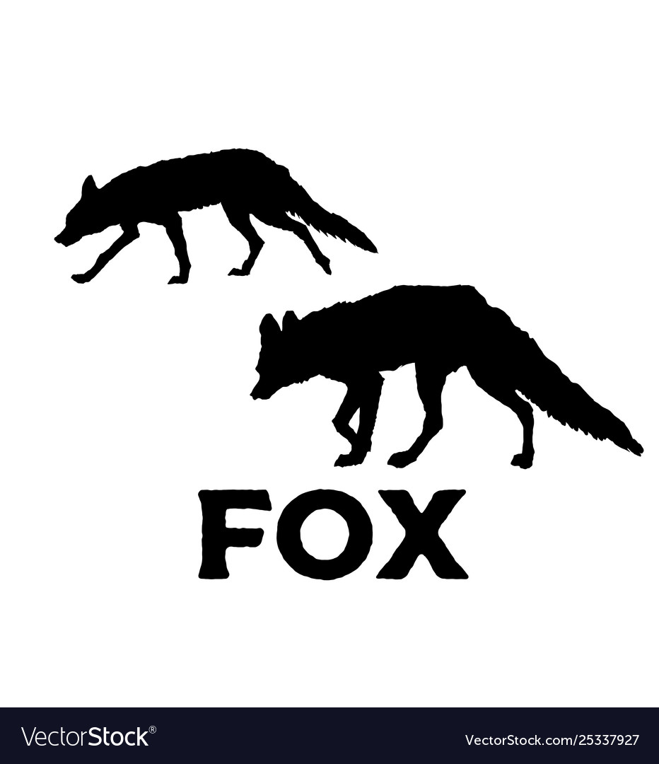 Fox silhouette isolated on