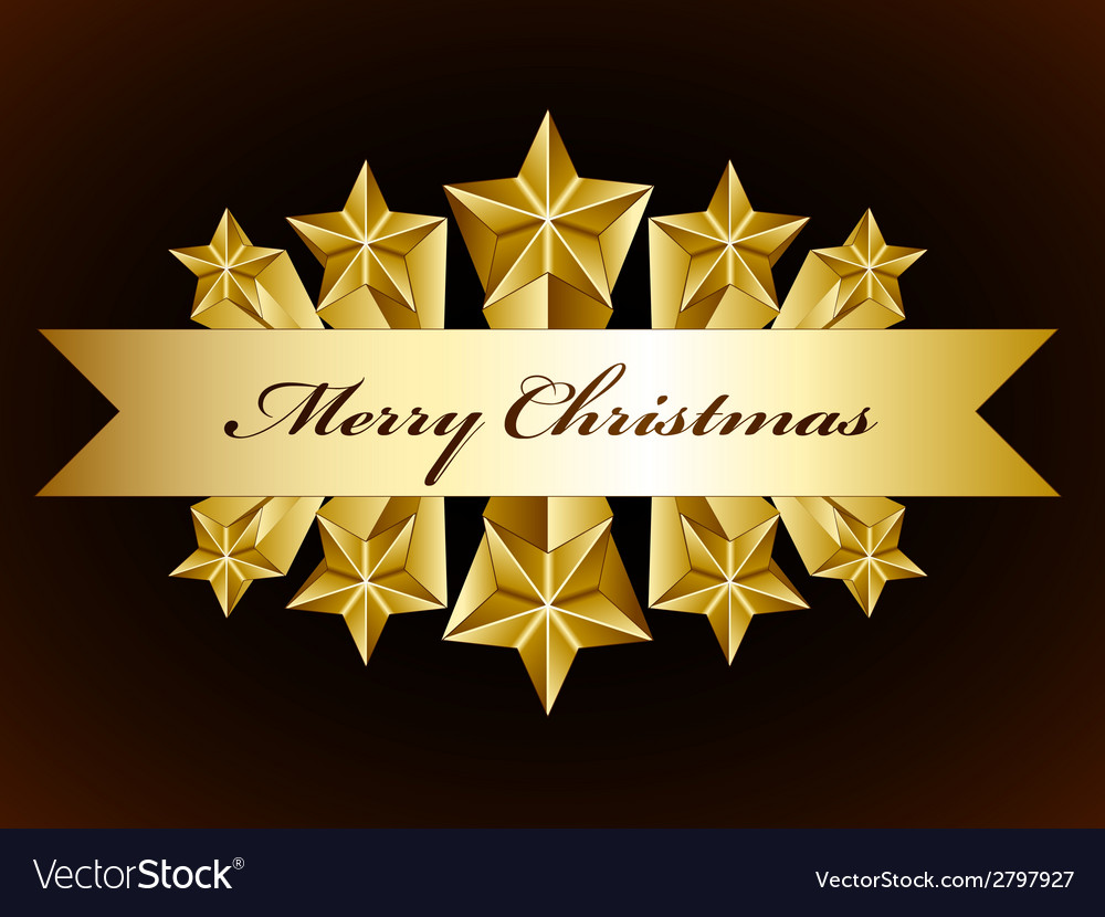 Golden merry christmas stars label vector image