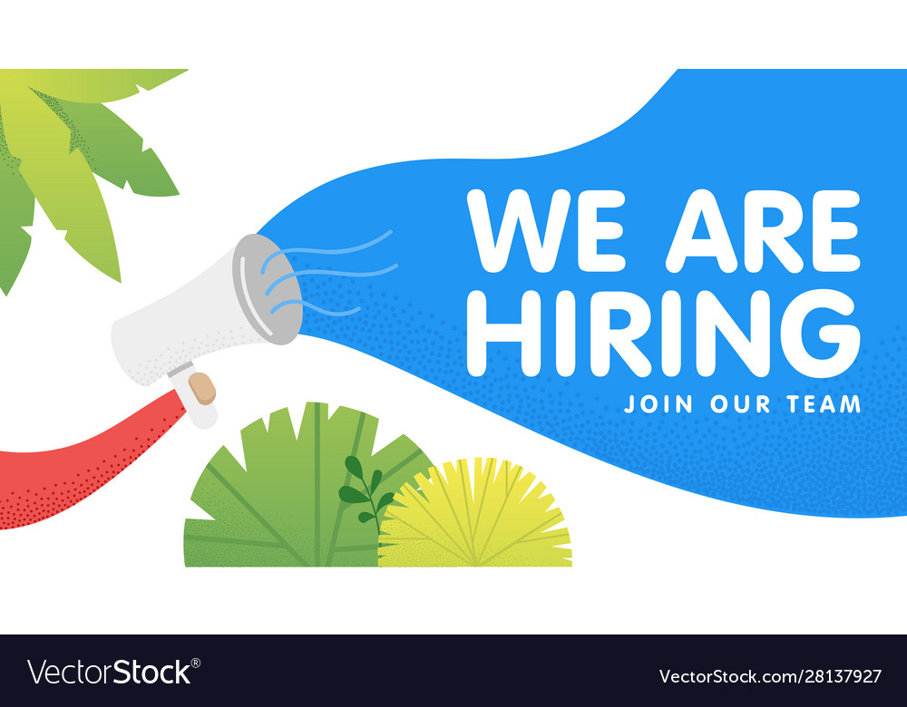 Hand holding megaphone with we are hiring speech