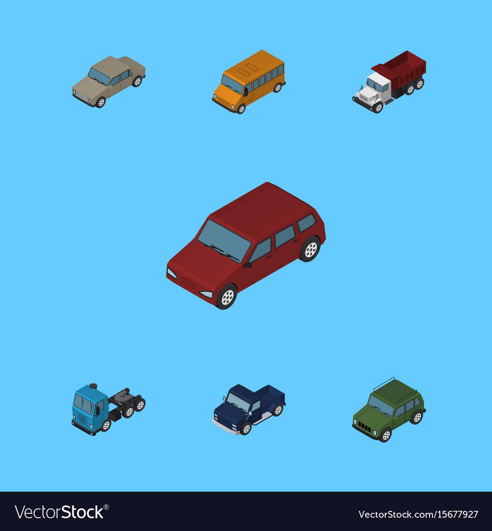 Isometric automobile set of autobus truck vector image