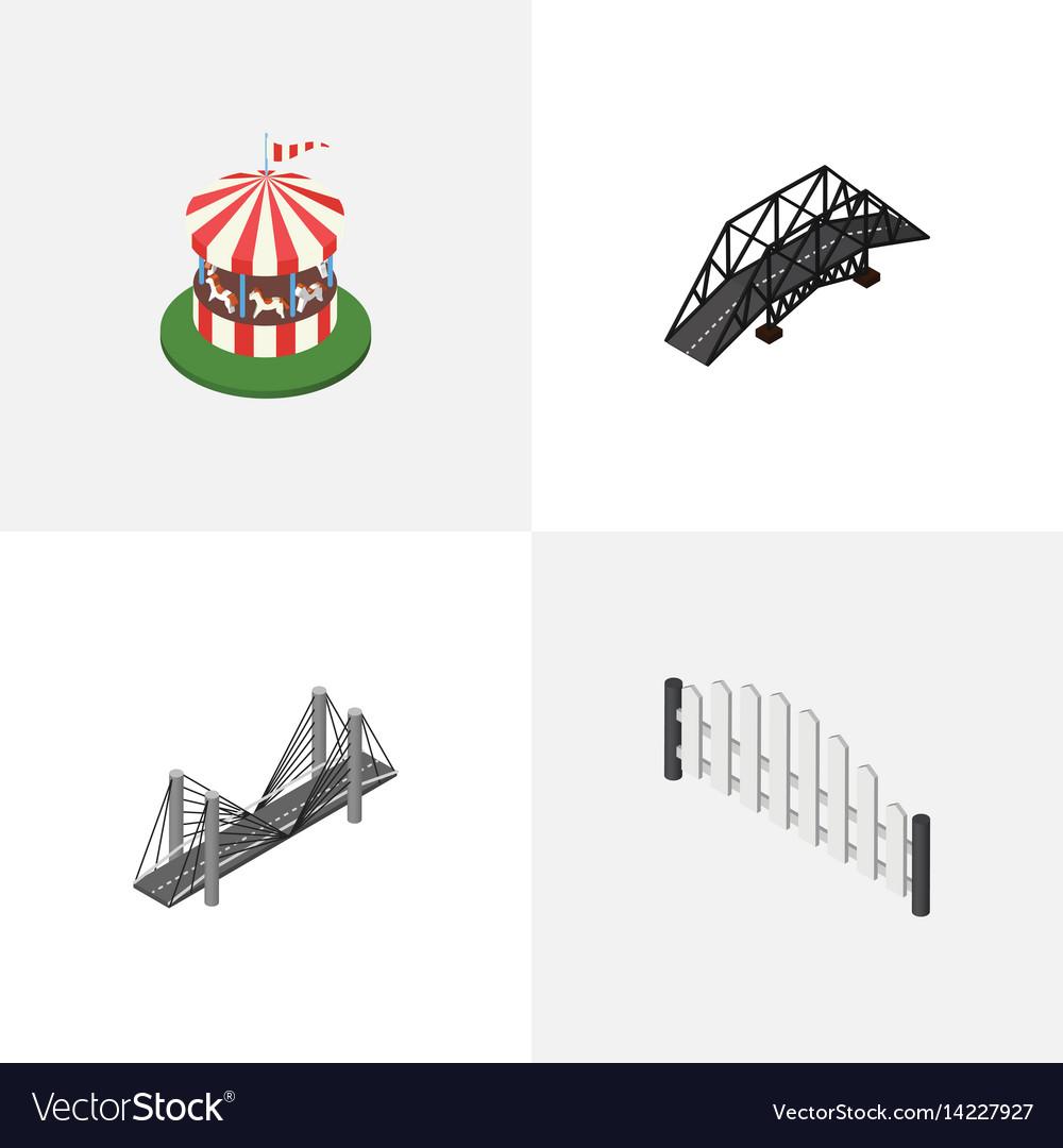 Isometric city set of carousel barricade bridge