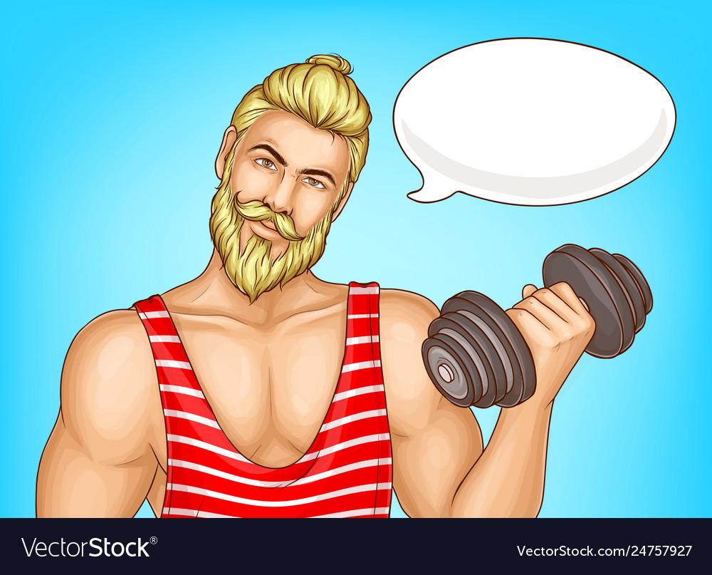 Man doing fitness exercises cartoon poster