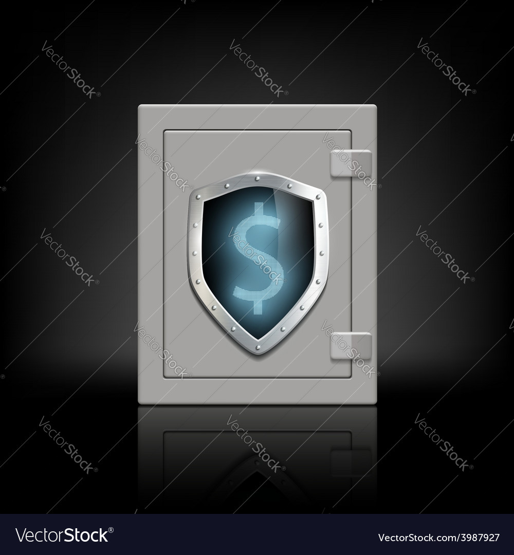 Metal safe with a shield which shows the dollar
