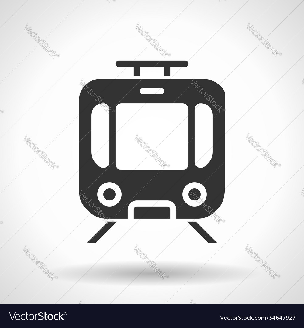 Monochromatic tram icon with hovering effect