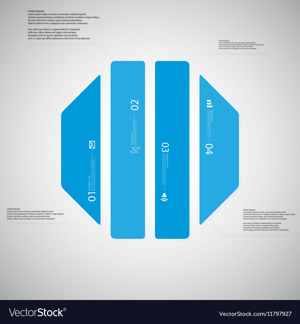 octagon template consists of four blue parts on vector image
