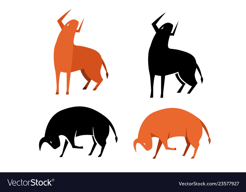 Set bull icon in silhouette and flat