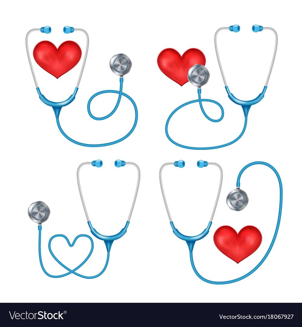 Stethoscope phonendoscope set isolated