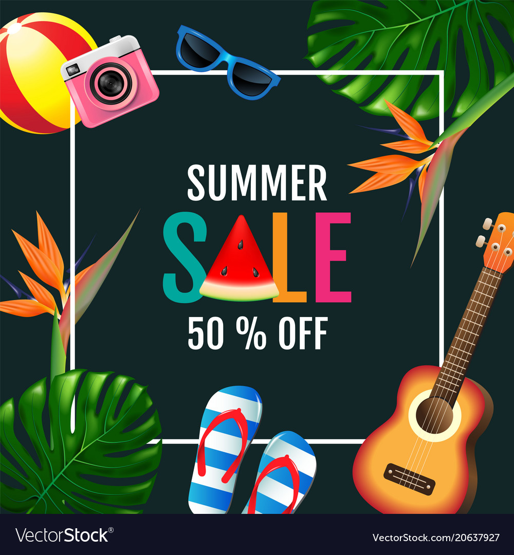 Summer sale layout design colorful trendy