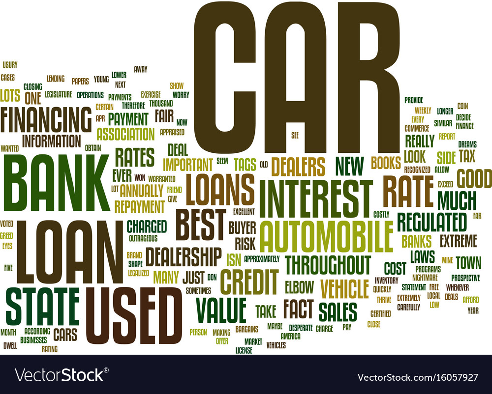 The Low Down On Bank Car Loans Text Background Vector Image