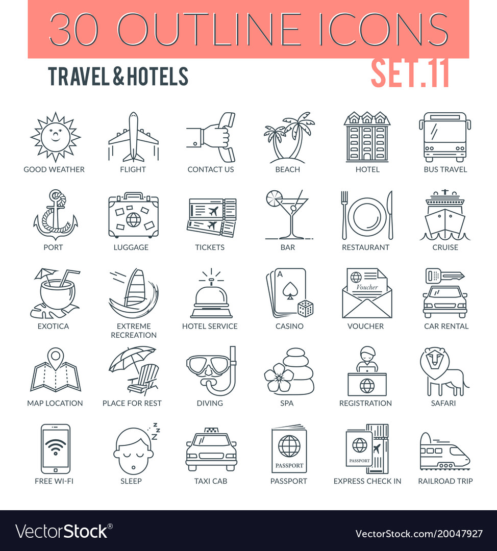 Travel hotels icons
