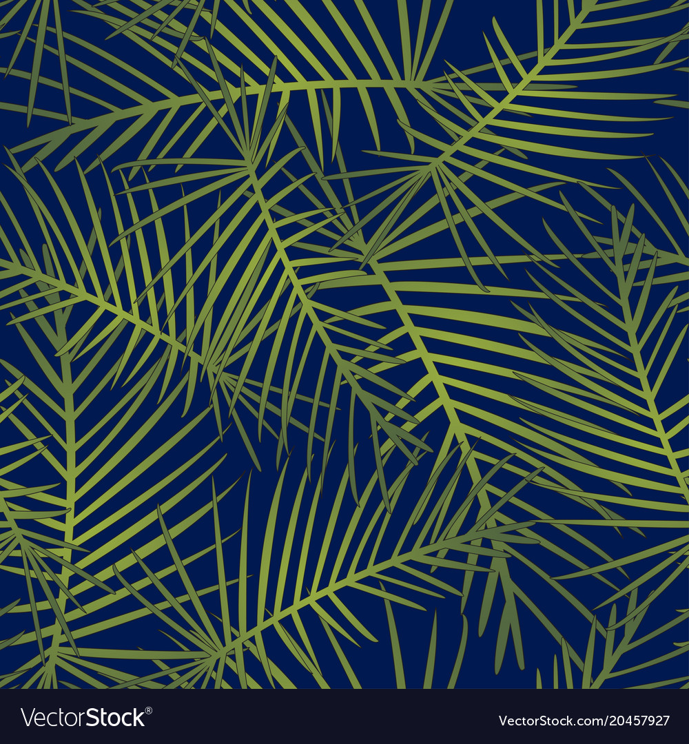Tropical leaves on navy blue background
