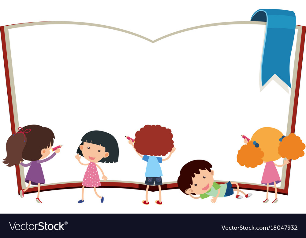 border template with kids and book royalty free vector image